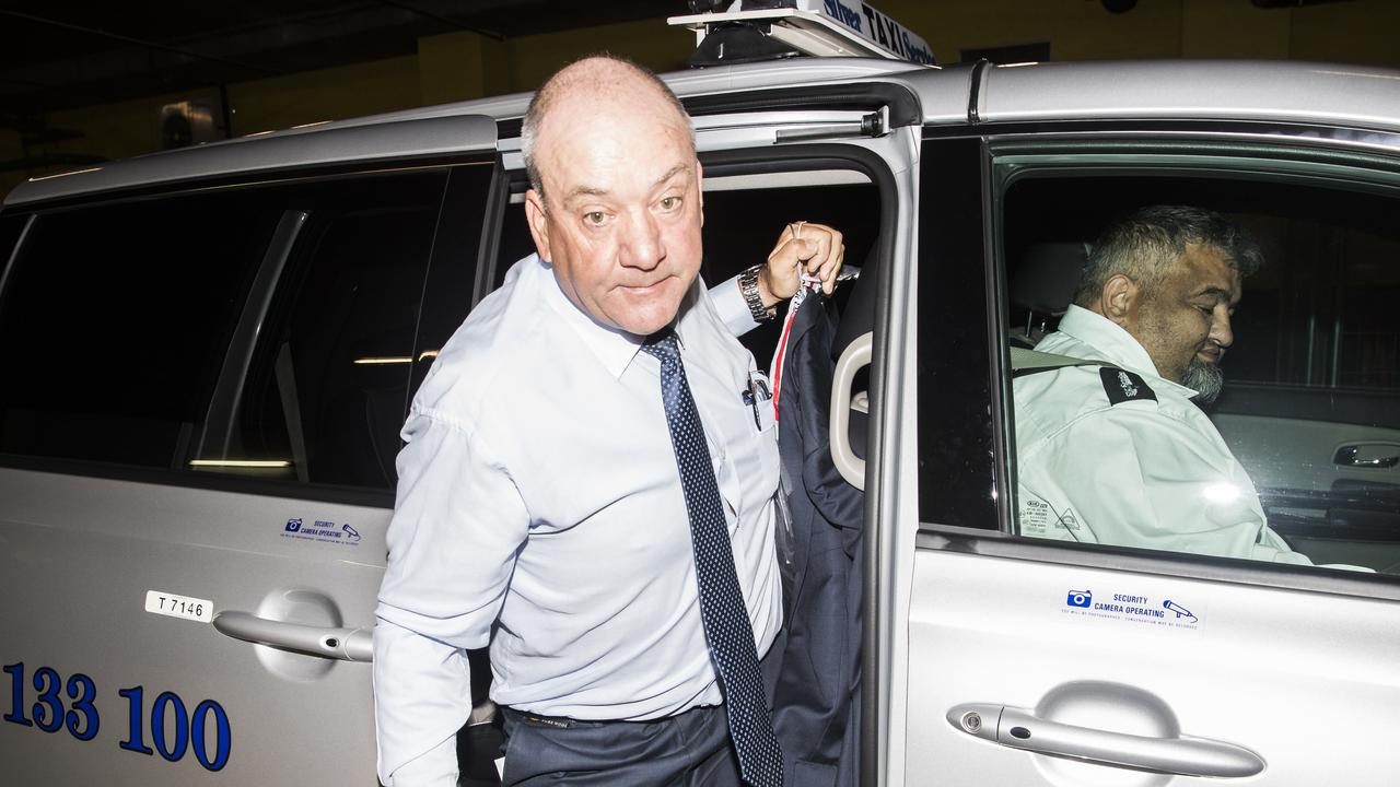 Daryl Maguire arrives at ICAC carpark via taxi from Castlereagh Street. Picture: Dylan Robinson