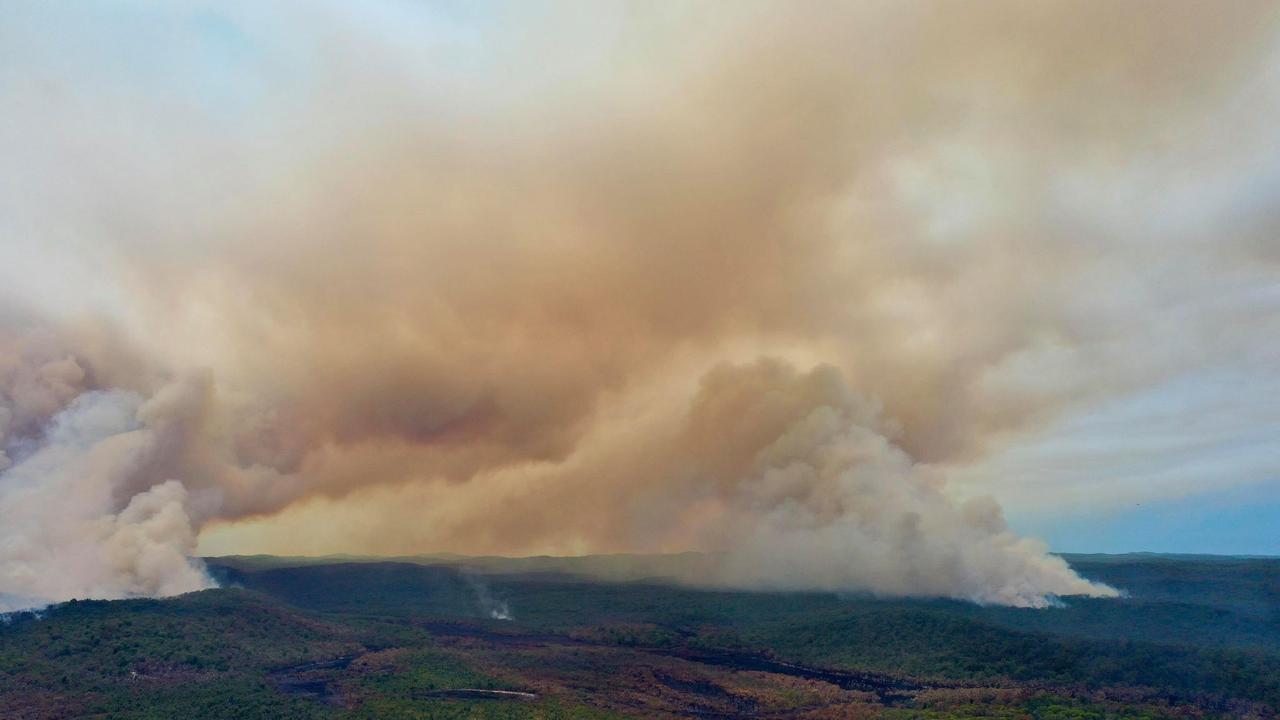 Drone stills taken by Glen Winney's of the fire burning on Fraser Island Picture Facebook/Glen Winney