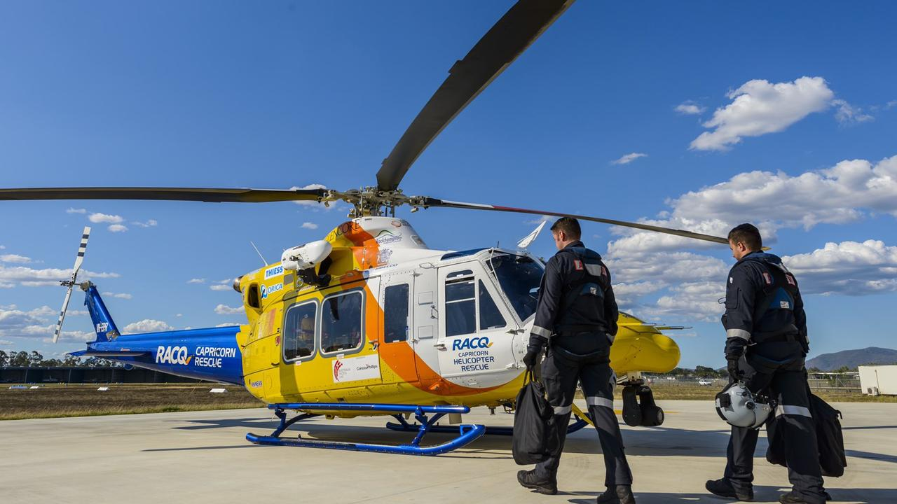 A rescue chopper is being sent out to the Swain Reef to assist with a winch rescue. Photo: RACQ CAPRICORN RESCUE