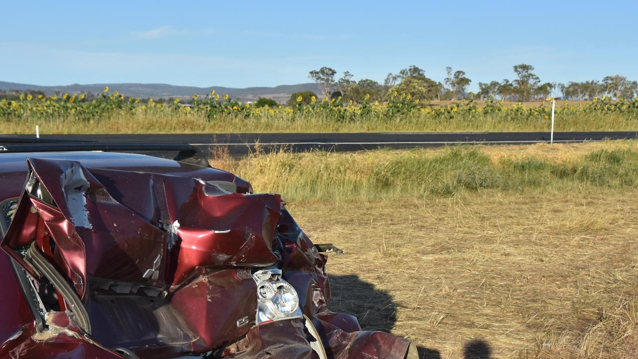 IN 2019, a car was severely damaged in a two-car crash near a sunflower field on the New England Highway.