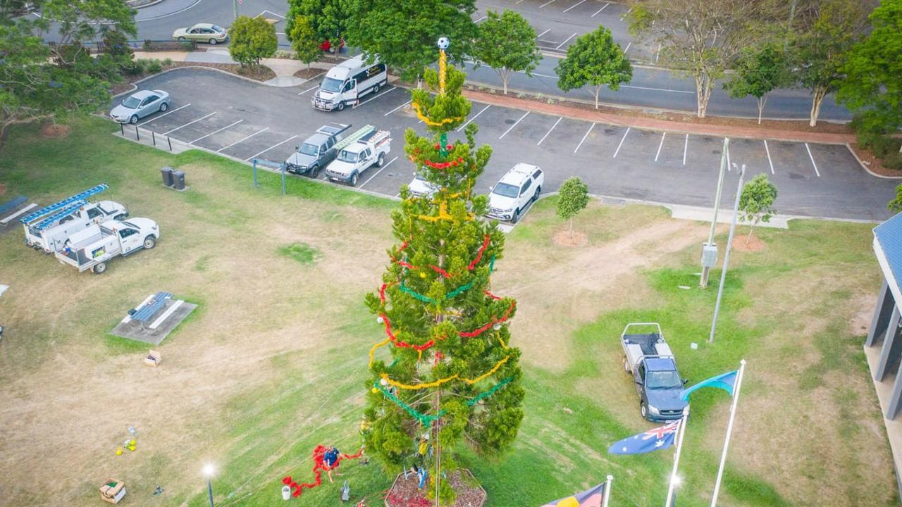 Mayor Glen Hartwig says the decoration of Gympie's Christmas tree has happened solely on the back of the effort of the region's businesses and the community. Photo: Gympie Regional Council