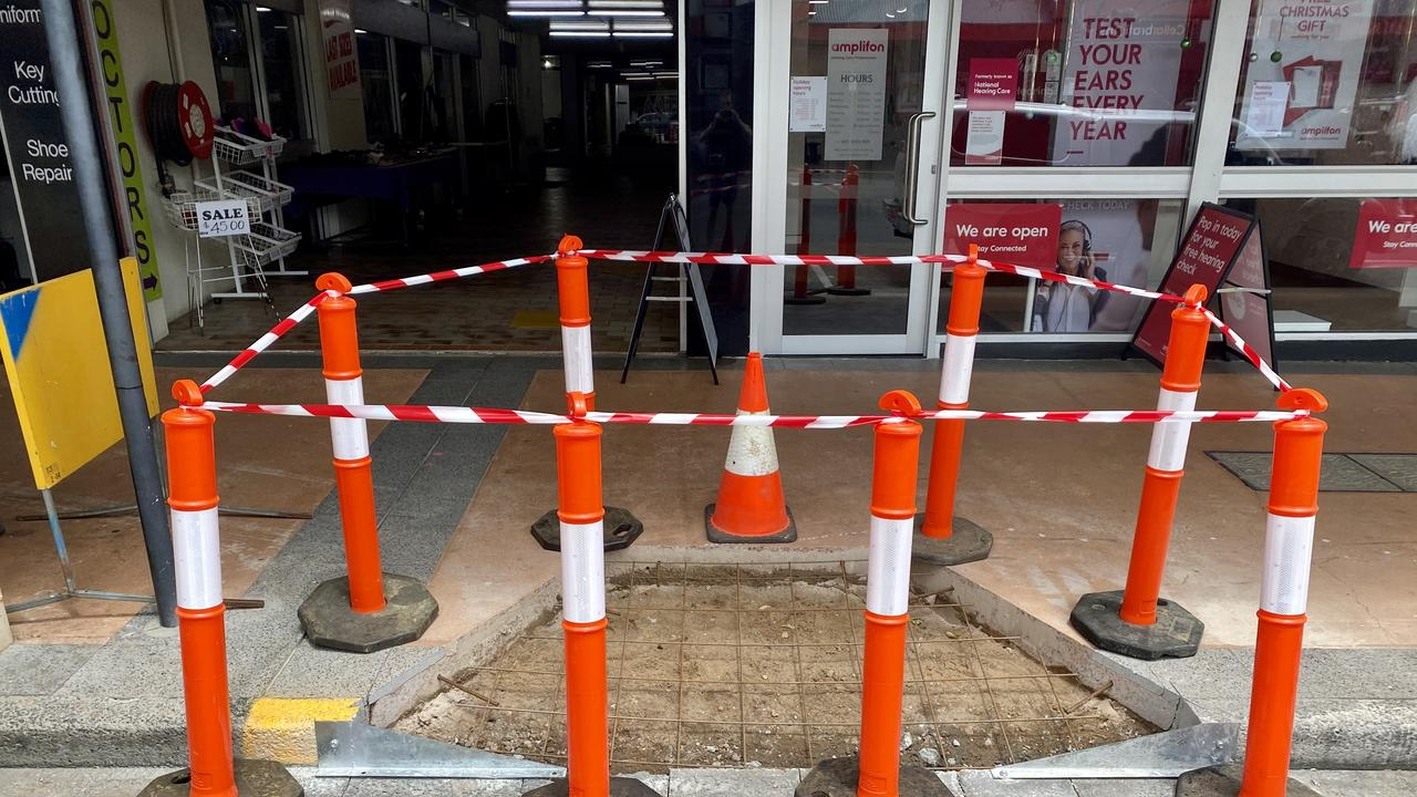 Works are underway on new disability access ramps in Railway St, Gatton. Photo: Hugh Suffell