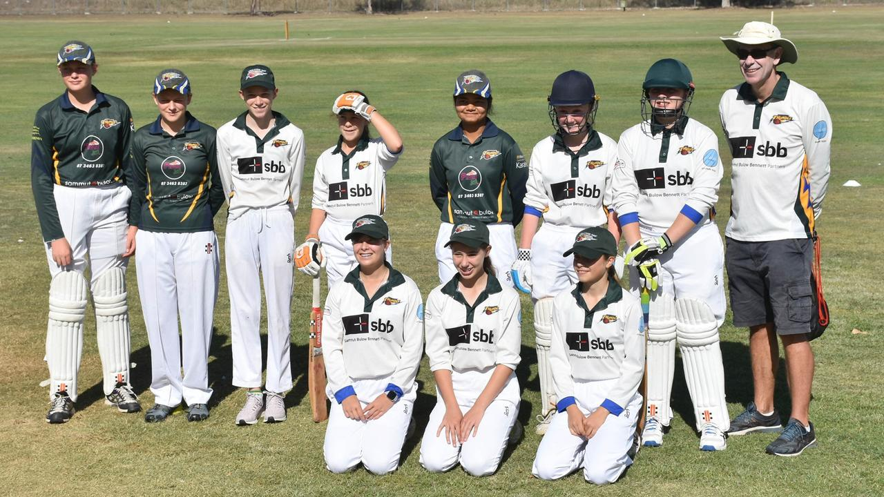 The Marburg-Mt Crosby Thunder girls Level 2A cricket team with supportive coach Brett Schmidt. Picture: Gary Reid