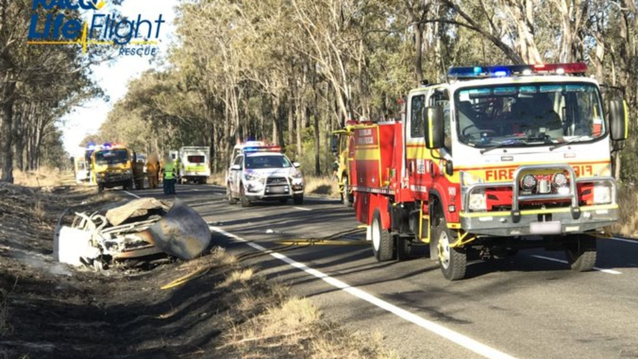 Fatal crash on Chinchilla Wondai Rd at Durong on August 10. Picture: RACQ LifeFlight