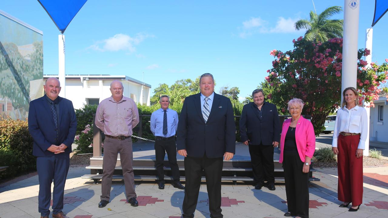(L to R) Whitsunday Regional Council Division 6 councillor Mike Brunker, Division 5 councillor Gary Simpson, Division 2 councillor Al Grundy, Mayor Andrew Willcox, deputy mayor and Division 3 councillor John Collins, Division 1 councillor Jan Clifford and Division 4 councillor Michelle Wright. Picture: Jordan Gilliland