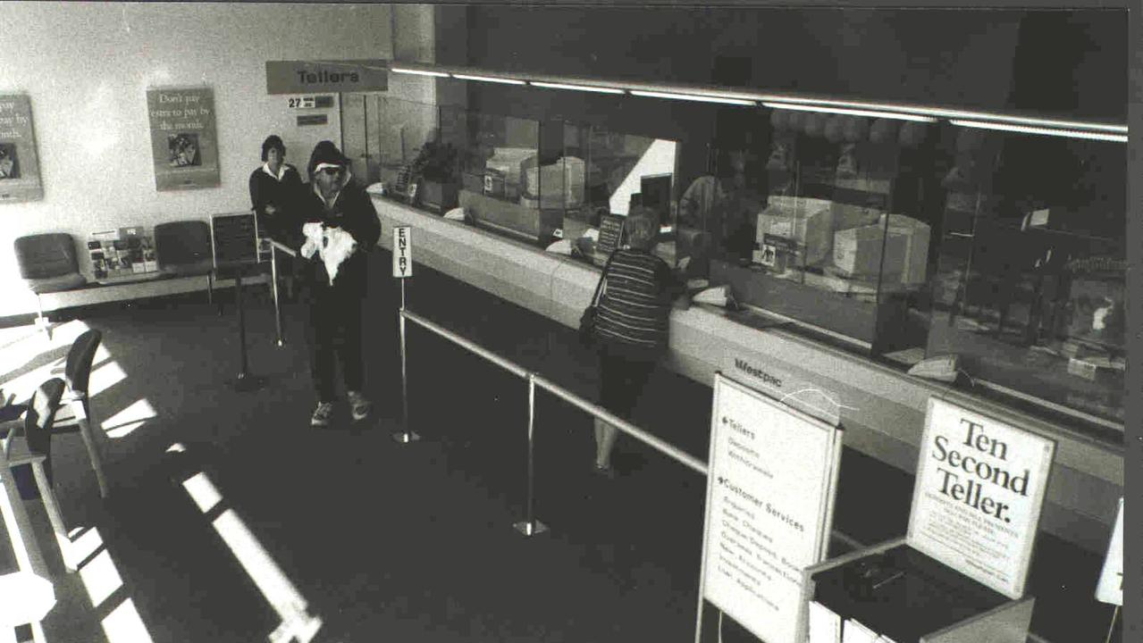 An armed robbery in progress at the Westpac Bank on Sherwood Rd, Sherwood, in July 1998.