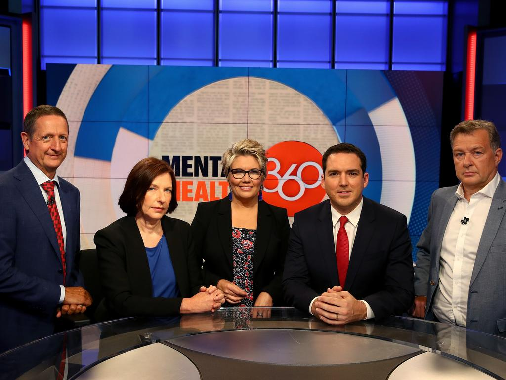 Mental Health 360 panellists Ian Hickie, Sue Dunlevy, Melinda Schneider, Peter Stefanovic and Chris Turton. Picture: Toby Zerna