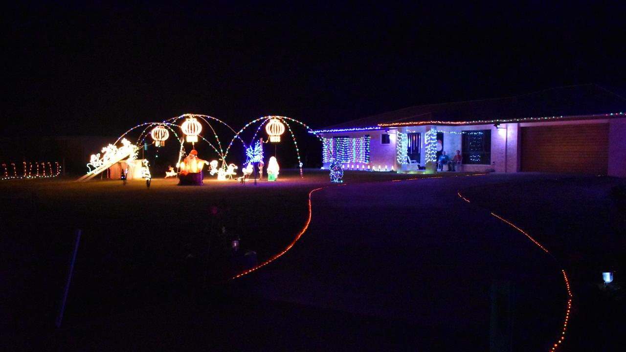 Kathy and Ray Brecknell's stunning Christmas light display this year. Picture: Rhylea Millar