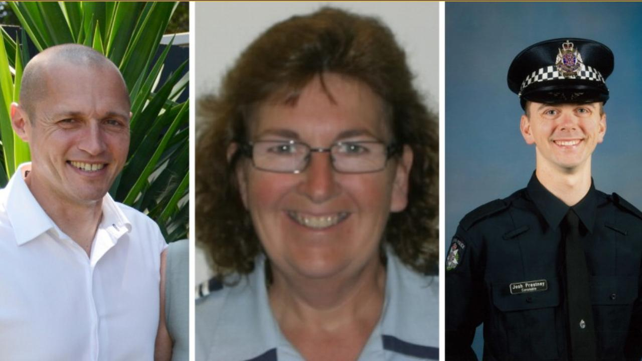 Senior Constable Kevin King, Leading Senior Constable Lynette Taylor and Constable Joshua Prestney were killed when a truck crashed into them as they stood on a Melbourne freeway. Supplied: Victoria Police