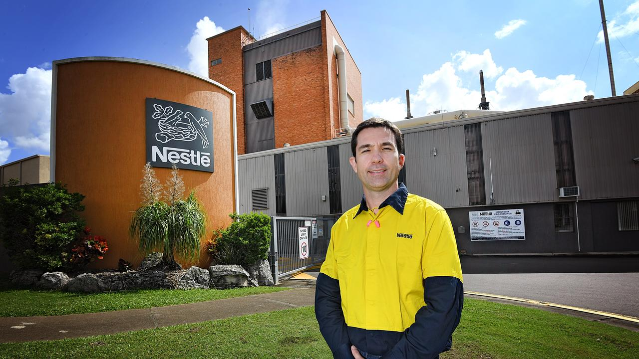 The Nestle Gympie factory with Richard Jones standing out the front.