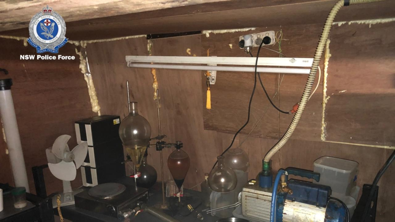 Police have discovered a drug lab and underground bunker in a Banora Point home. Photo: NSW Police