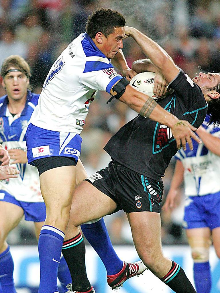 SBW and one his famous shoulder charges.