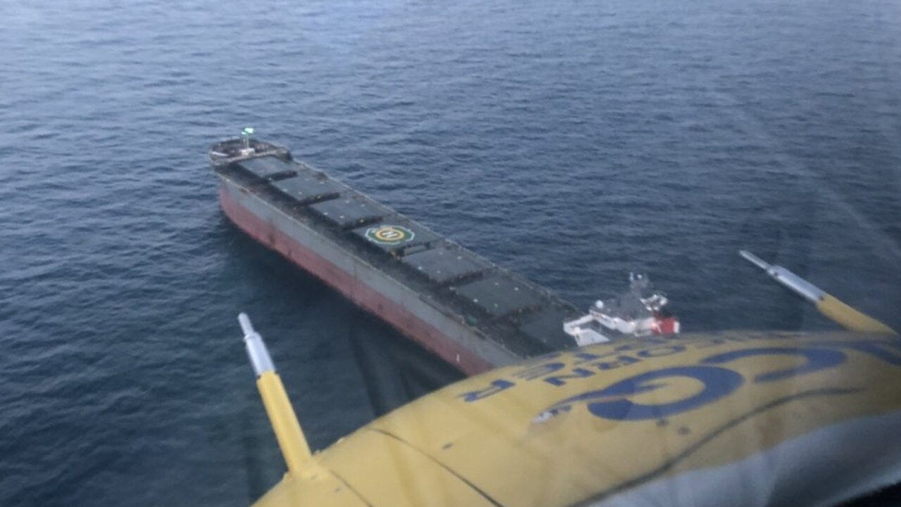 RACQ Capricorn Helicopter Rescue off the Gladstone coast rescuing a man from a bulk carrier.