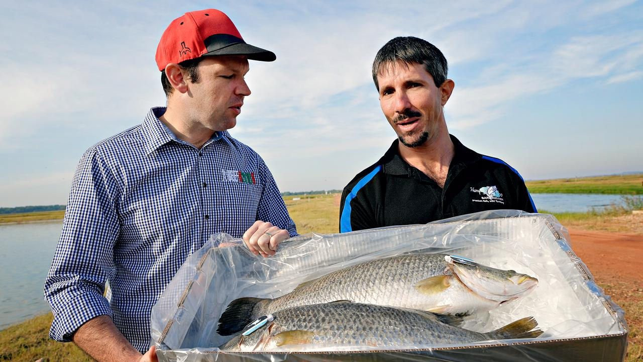 Senator Matt Canavan with Humpty Doo Barramundi owner Dan Richards which was funded under the Northern Australia Infrastructure Facility.