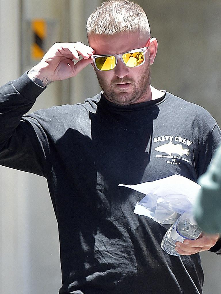 Aaron Hill seen leaving Townsville watch house, after being charged with manslaughter over the death of a three year old girl in a car. PICTURE: MATT TAYLOR.