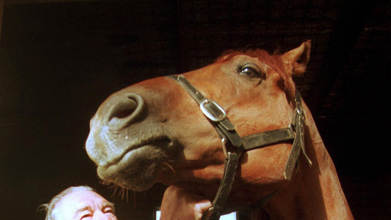 Trainer Albert Stapleford and racehorse Magic Albert in Melbourne in 2001.