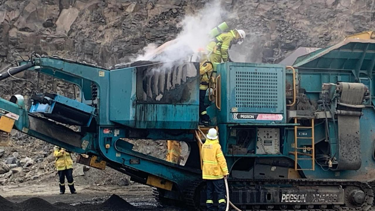 MACHINERY FIRE: Quick work by firefighters from Alphadale who assisted Tuncester and Dunoon Brigades to extinguish a machinery fire at Blakebrook quarry on Wednesday at 5.30pm saw the incident rendered safe. Photo courtesy Alphadale RFS