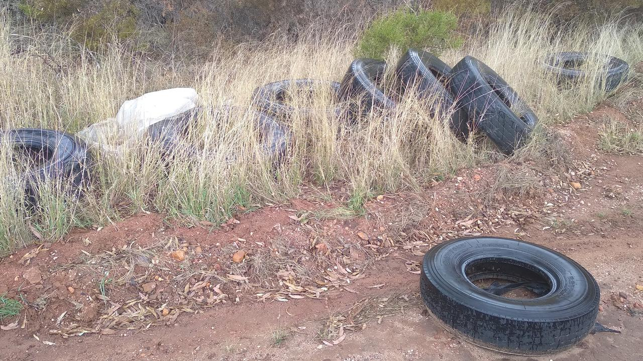 Tyres that have allegedly been illegally dumped near Bloomsbury. Picture: Lance Payne