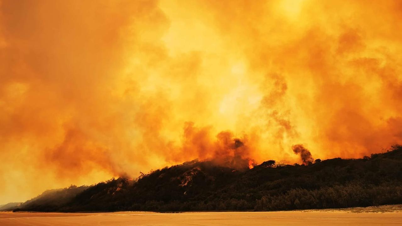 Fire burning on Fraser Island on Monday morning.