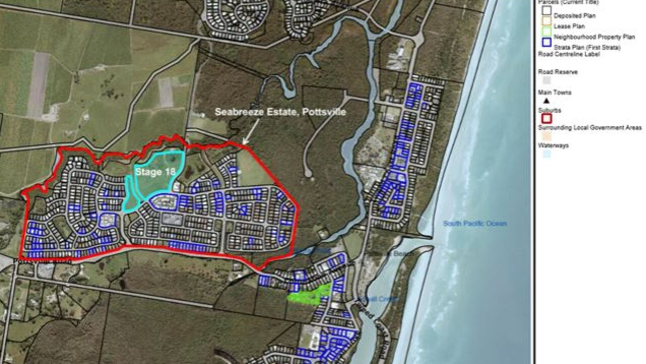 The potential site for a future school in the Pottsville Seabreeze Estate residential development as outlined in council documents.