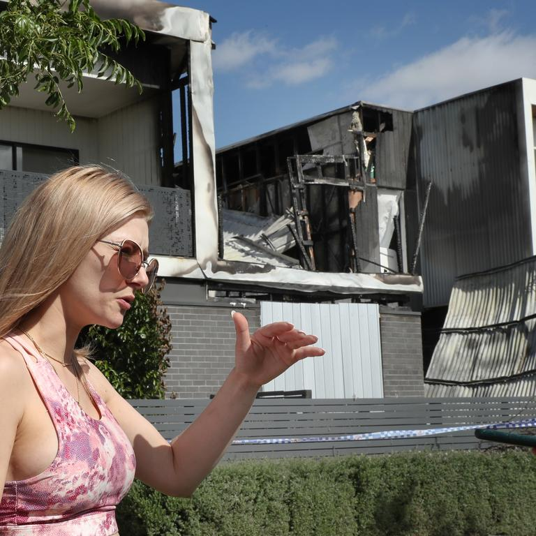 Neighbour Jade Bartolo said she threw an axe at the burning home about five times before watching the woman fall back into the room as flames consumed the property. Picture: NCA NewsWire/David Crosling