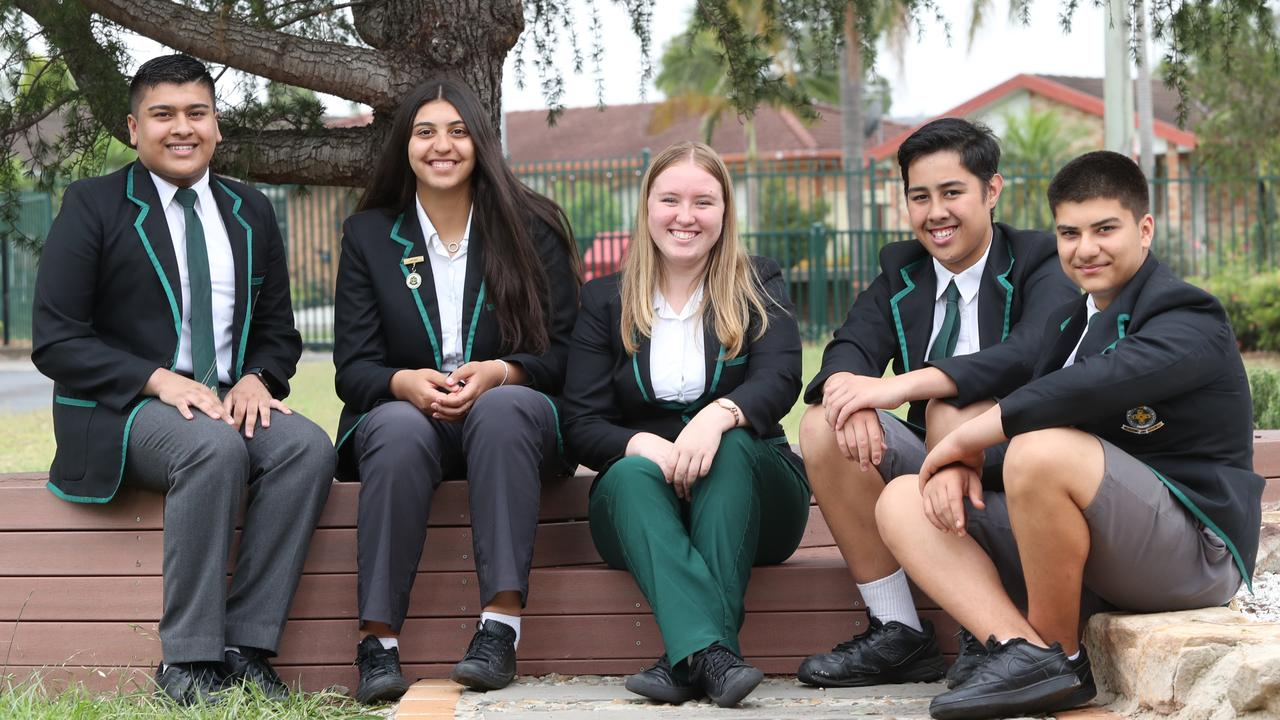 Hoxton Park High School's Ziyyan Ali, Layla Harb, Danni McQuggan, Braxton Rokotuku and Ahmad Maleki will be among the first cohort to be tracked after the HSC. Picture: Richard Dobson