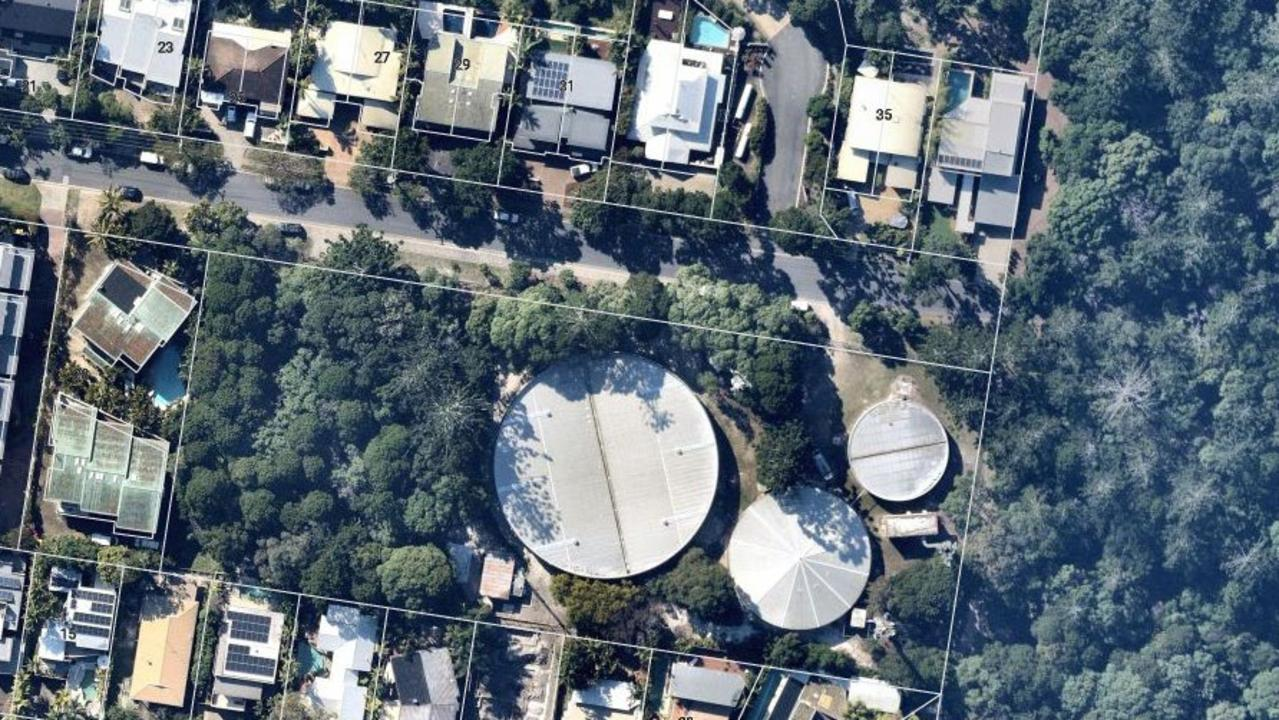 An aerial view of the proposed Youngcare development site beside the three water tanks.