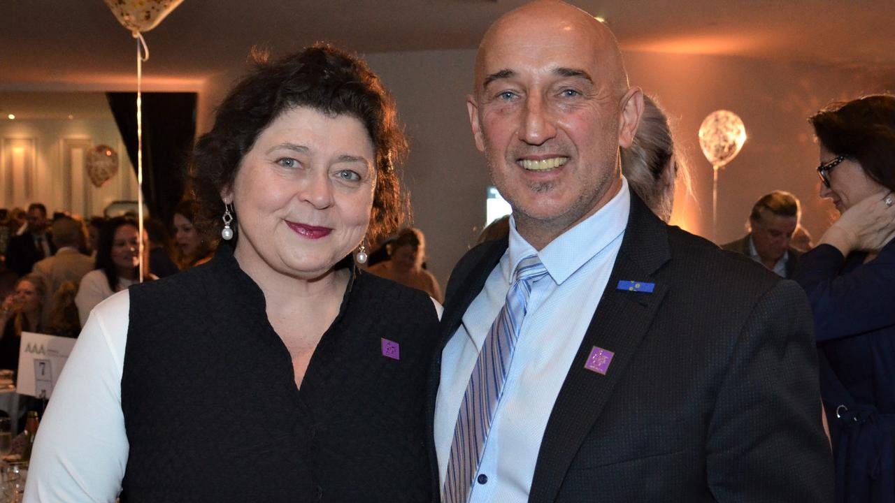 Lesley Podesta and Walter Mikac at Brighton Rotary's #StopTheBullying luncheon last year. Picture: Fiona Byrne