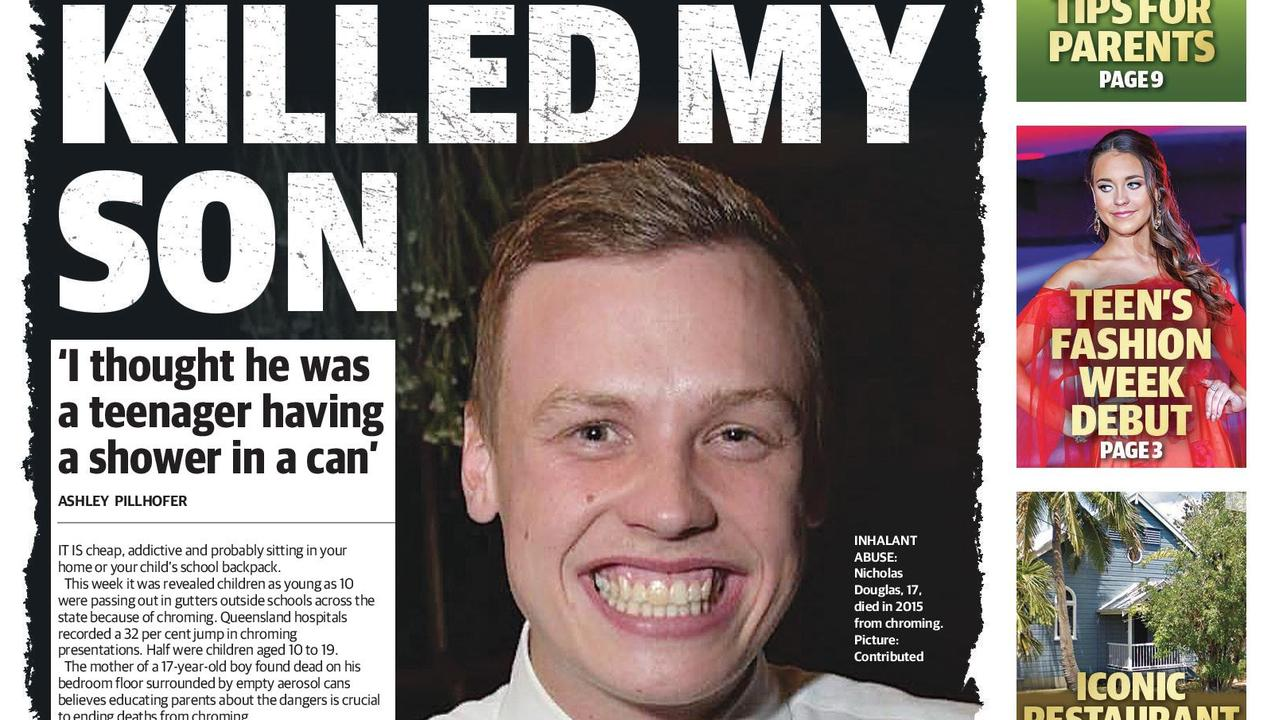 The mother of a 17-year-old was upset to discover her son passed away from chroming in 2015. Picture: Daily Mercury.
