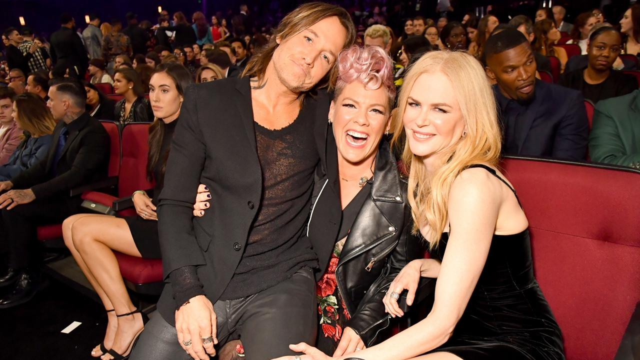 The first time Keith Urban and Nicole Kidman met P!nk at the American Music Awards in 2017. Picture: Supplied/Jeff Kravitz/AMA2017.