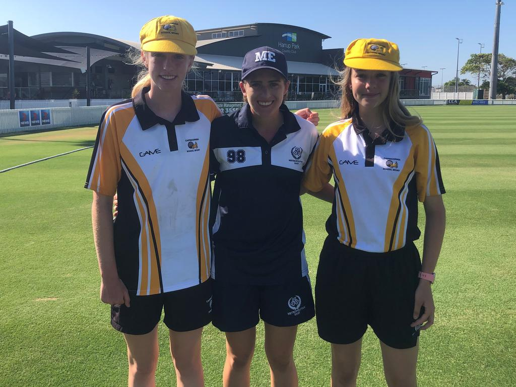 Mackay cricketers Ella Anderson, Ryleigh Wotherspoon and Meghan McCartney were named in the Queensland Schoolgirls cricket team following standout performances at the U15 State Championships at Harrup Park.