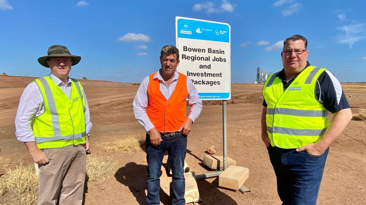 Assistant Minister Scott Buchholz, Cr Kerry Hayes and Managing Director of CQ Inland Port, Alan Stent-Smith in Emerald for the Central Queensland Regional Organisation of Councils (CQROC).