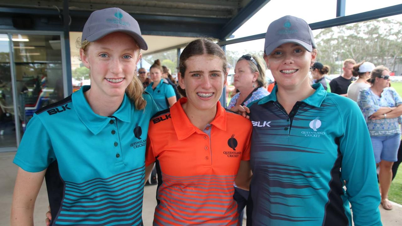 Mackay girls Ella Anderson, Ryleigh Wotherspoon and Proserpine's Keyra Smith at the cricket Under 17 State Challenge last year.