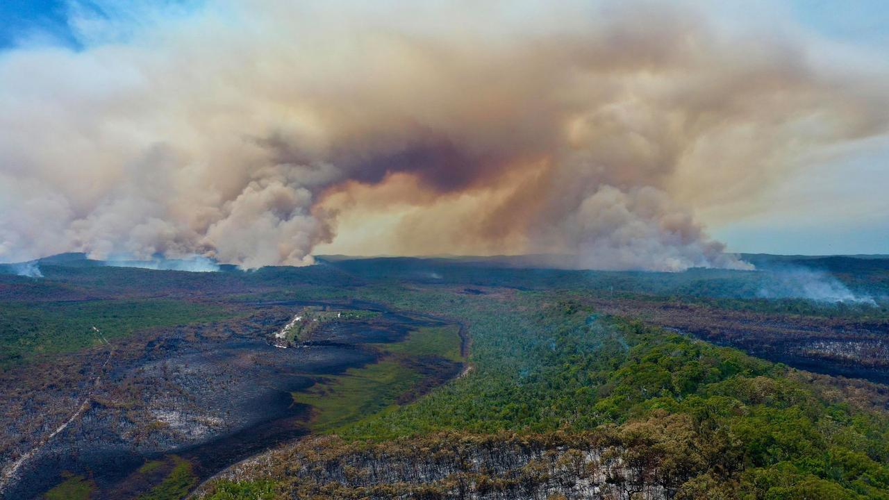 About 82,000 hectares of bushland has burned on Fraser Island since the fire began. Picture: Facebook/Glen Winney