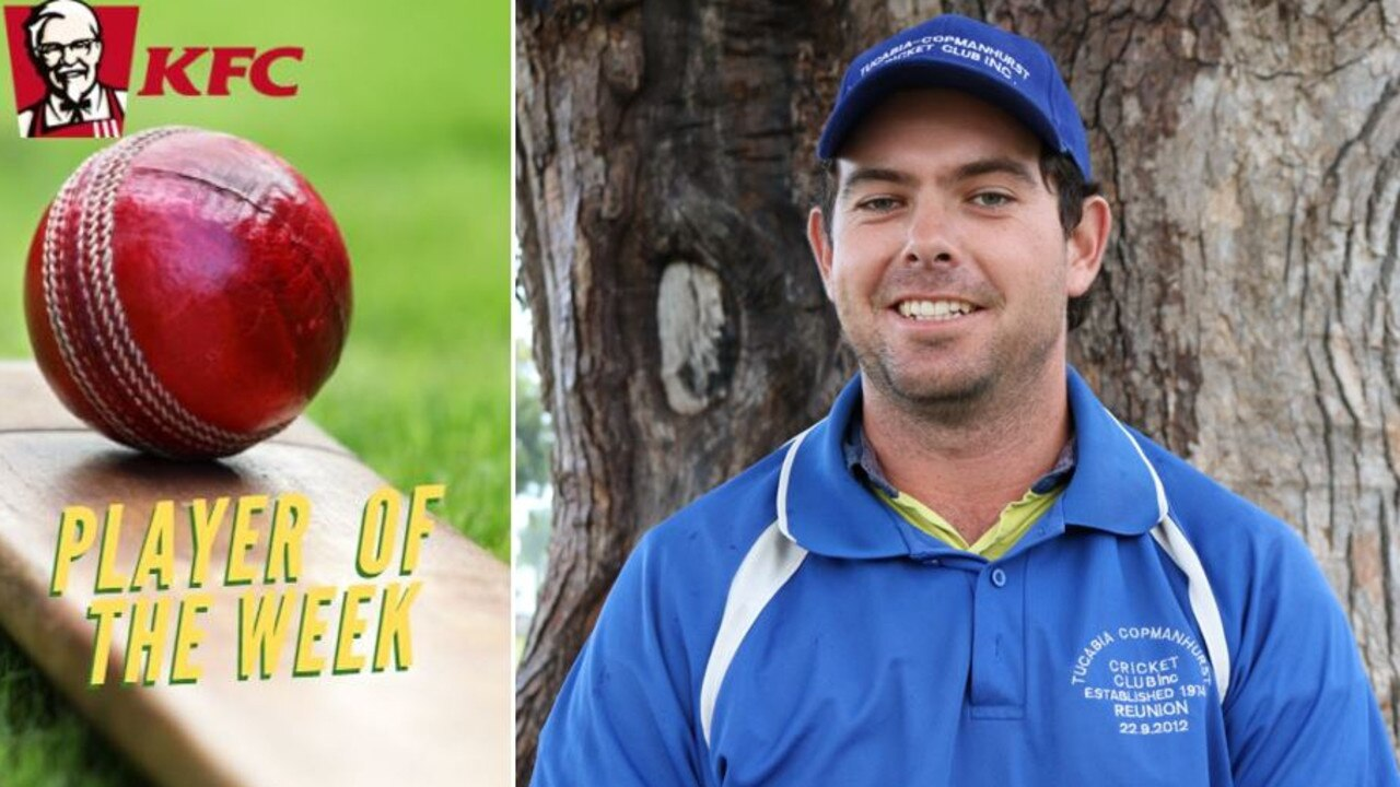 Tim Bultitude was voted KFC Player of the Week for his offpsin bowling spell of 4 for 8 off 8 overs for Ulmarra Hotel Tucabia Copmanhurst in the GDSC Premier League round four clash against South Services at JJ Lawrence Turf on Saturday, 28th November, 2020.