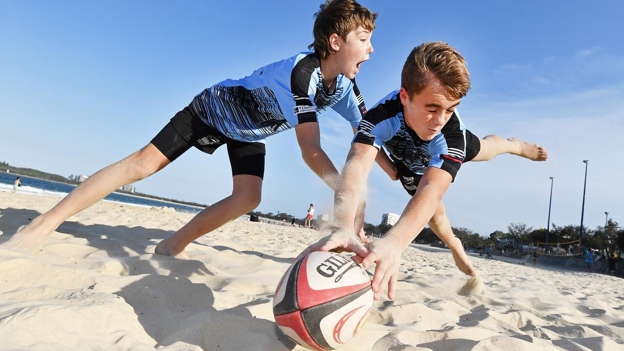 Maroochydore Swans players Brock Coombes (front) and Archie Cook are excited to hit the sand for the Beach 5s Rugby festival coming to Mooloolaba in February. Picture: Patrick Woods.