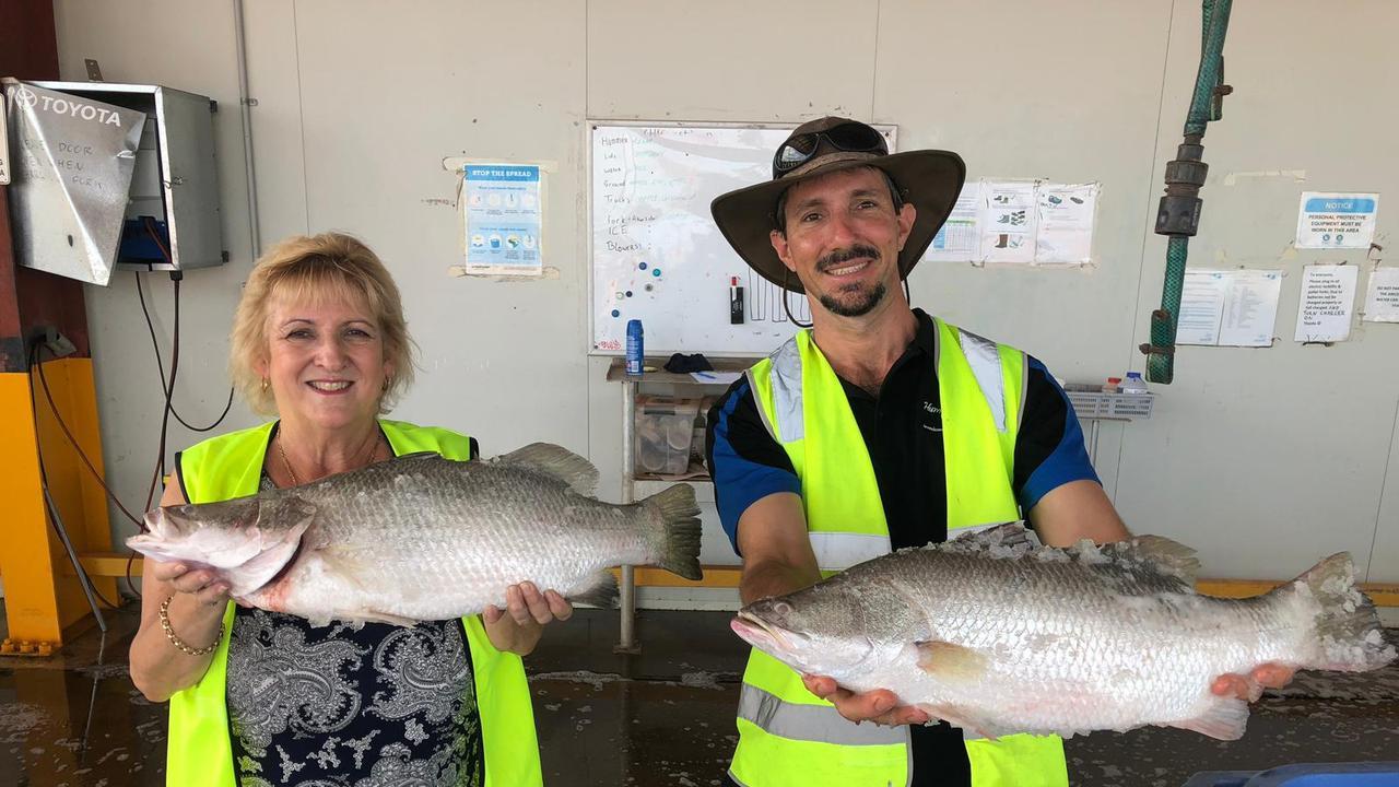 Michelle Landry touring Humpty Doo Barramundi – the largest barramundi farm in Australia.