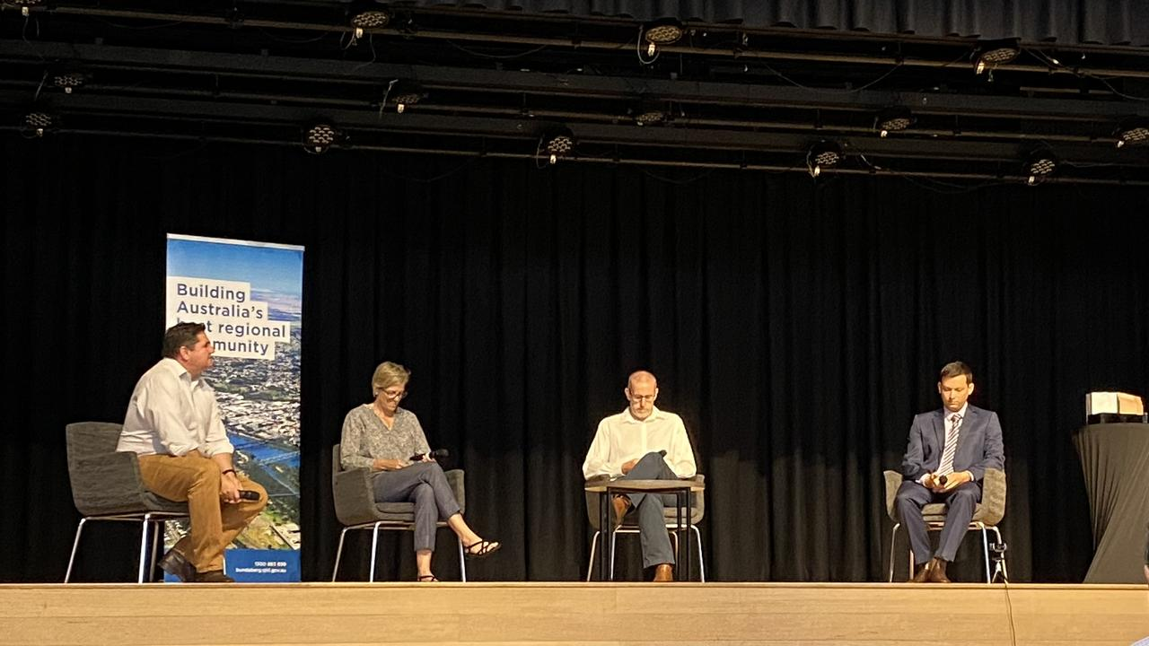 Founding Director of Rural Economies Centre of Excellence Associate Professor Ben Lyons, CEO and Co-Founder of RapidAIM Dr Nancy Schellhorn, CQUniversity's Professor Philip Brown and Co-founder of Corematic Engineering Scott Hansen encouraged keen students to pursue a career in agriculture.