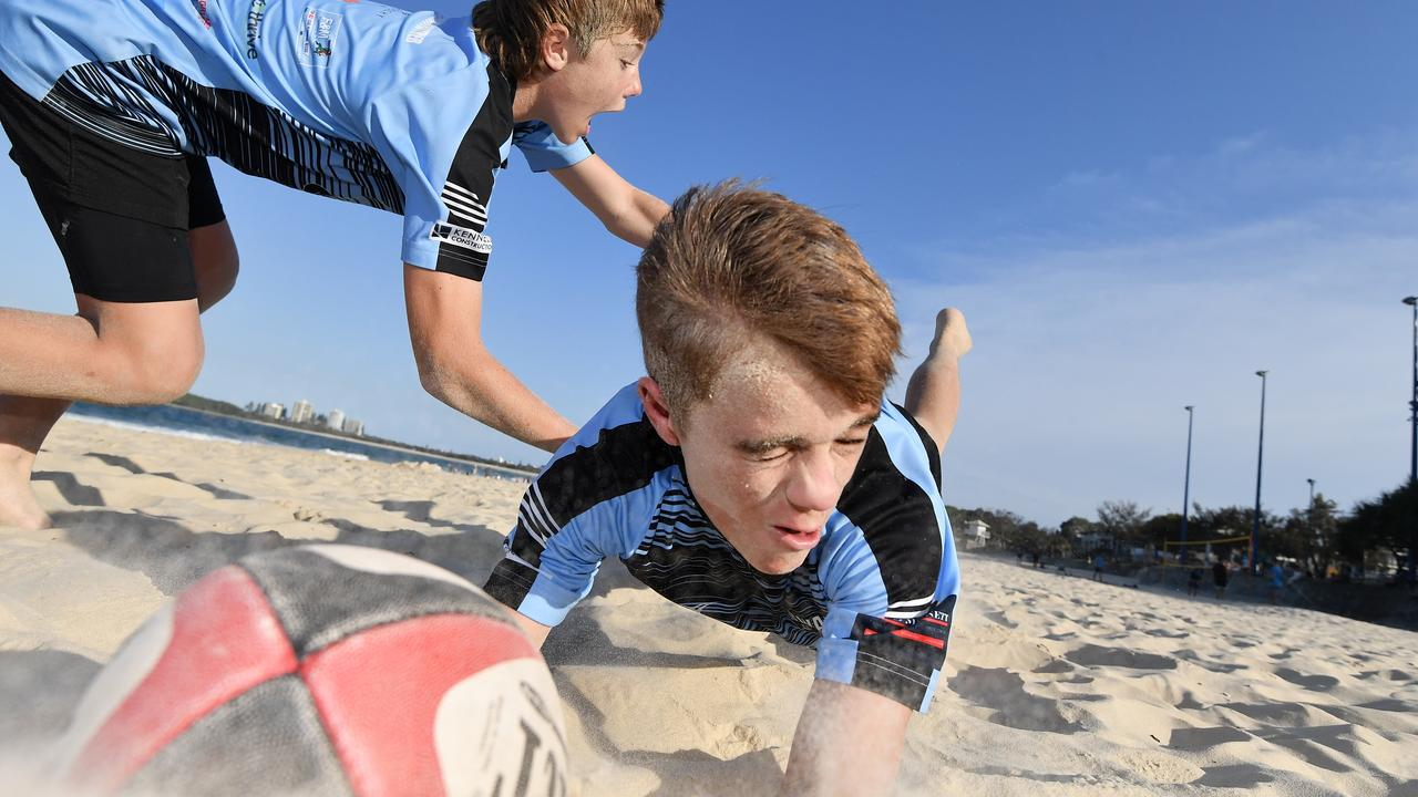 Out in practice mode for Beach 5s Rugby festival coming to Mooloolaba in February are Brock Coombes (right) and Archie Cook. Picture: Patrick Woods.