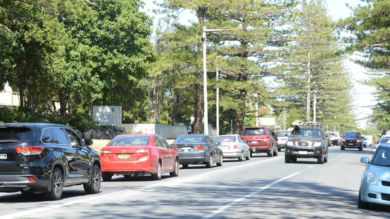Heavy traffic in Byron Bay in the lead up to Christmas. Picture: Liana Boss