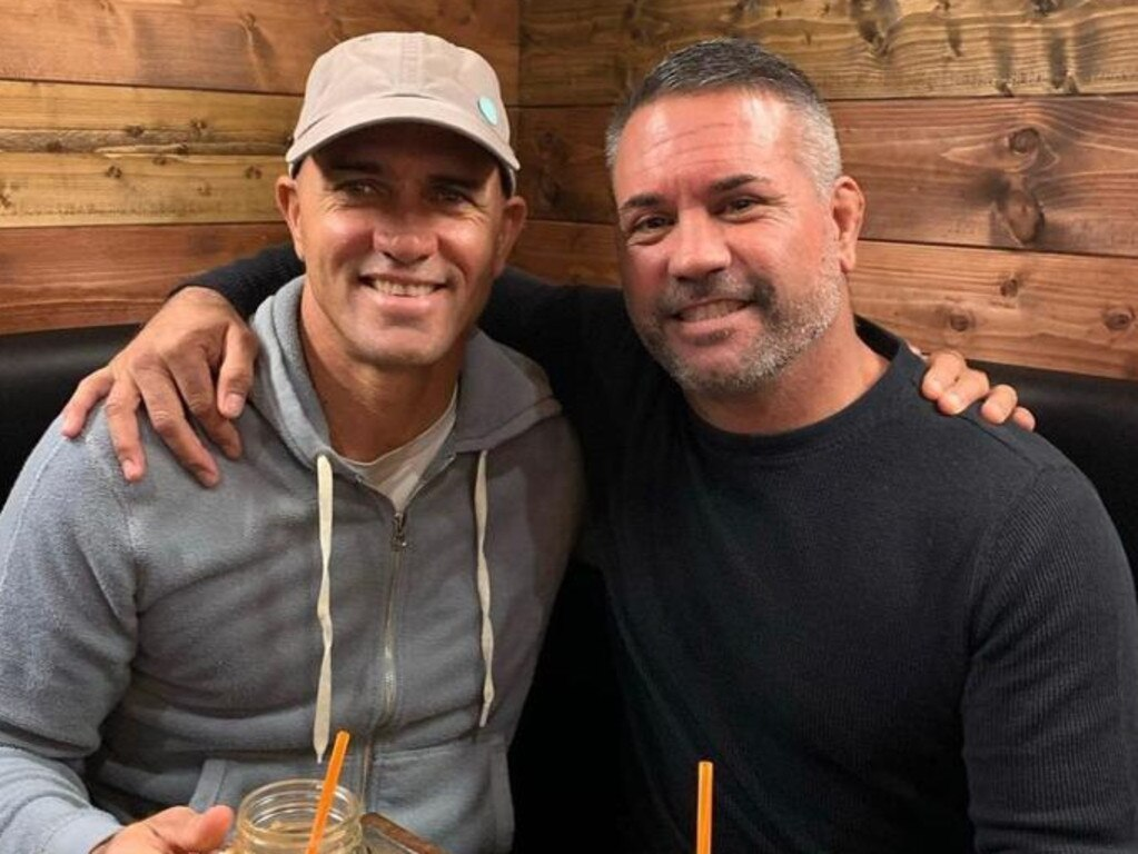 Kelly Slater and John Shimooka together. Picture: @kellyslater/Instagram