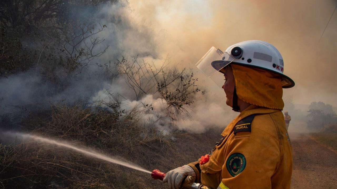Firefighters are working to contain a bushfire burning at Buxton.