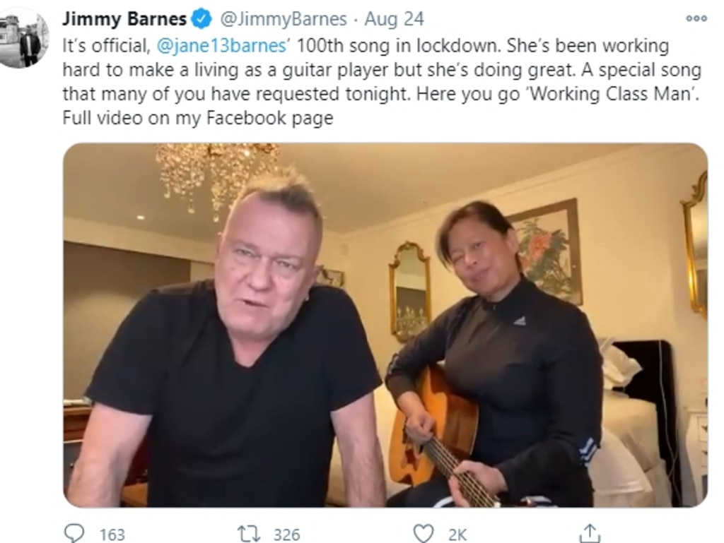 Jimmy and Jane Barnes' performances were a treat for fans during Covid lockdowns. Picture: Twitter