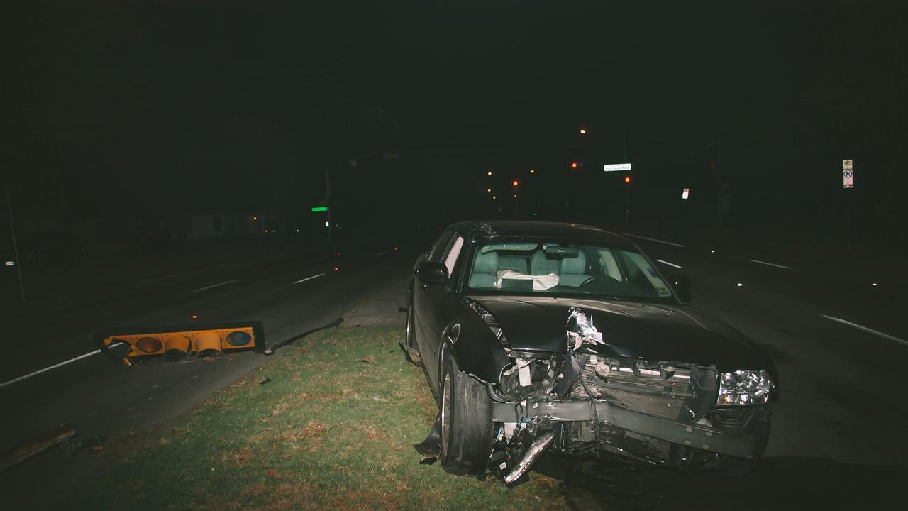 Car crash wreckage.