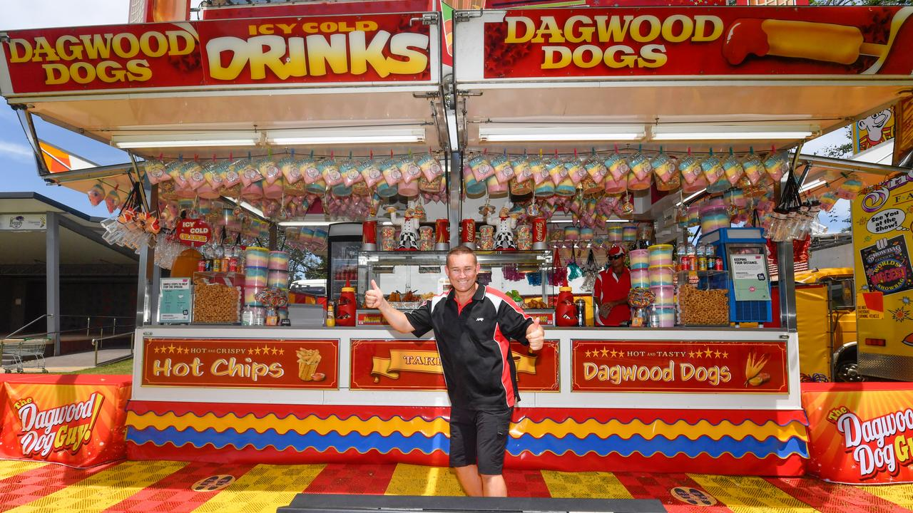 Jesse McDonald – the Dagwood Dog guy – is back in Market Square for this weekend after being forced to miss the Jacaranda season by COVID restrictions.