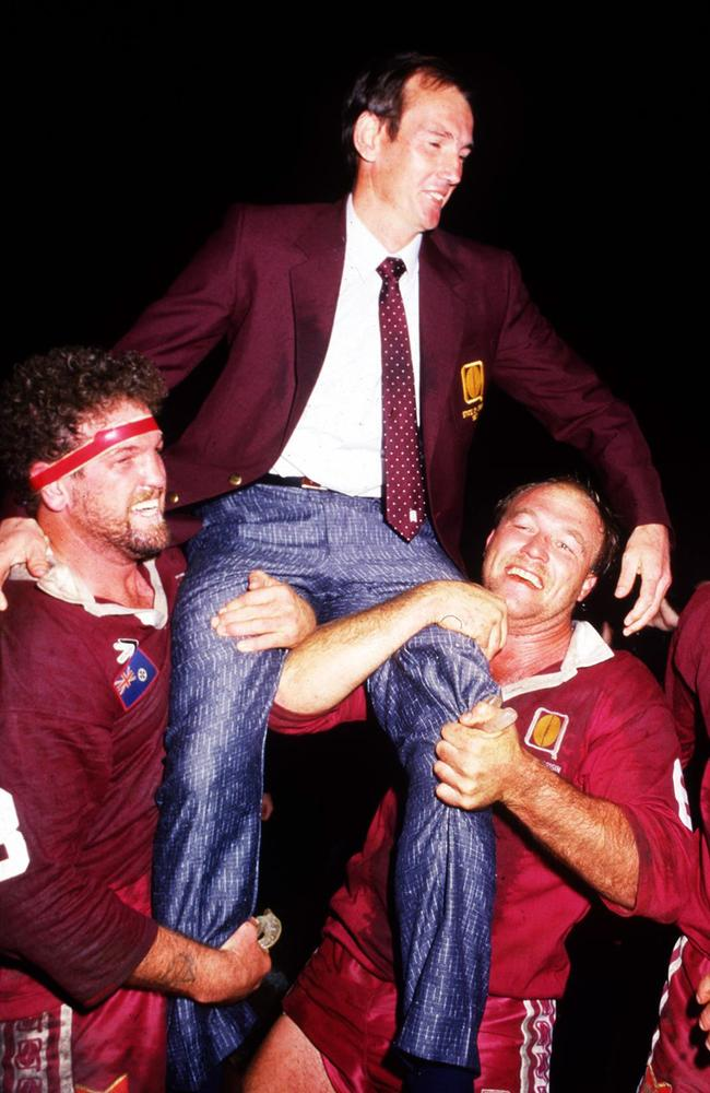 Queensland State of Origin coach Wayne Bennett celebrating with players Greg Dowling and Wally Lewis. Picture: Supplied