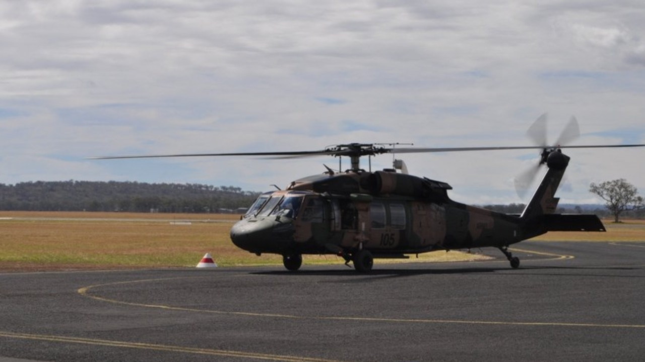 A helicopter from the Oakey Army Aviation Centre. Photo Contributed