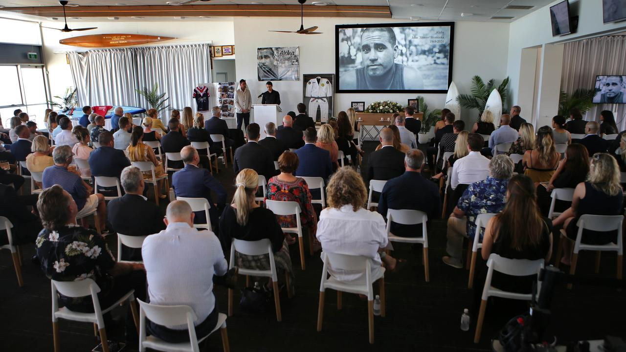 The sporting globe gathered for the funeral of legendary surfer John Shimooka.