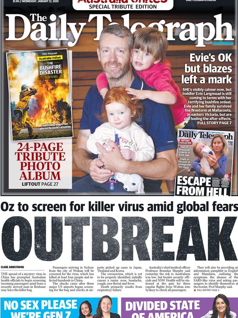 January 22: Three days later, coronavirus was front page news.