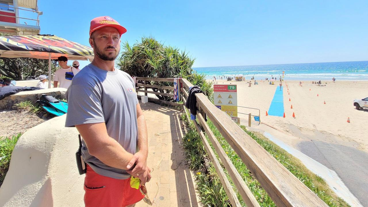 ON SCENE: Surf Life Saving Queensland drone pilot Rowan Simpson was one of the people on scene at this morning's near drowning just north of Coolum main beach. Picture: Scott Sawyer